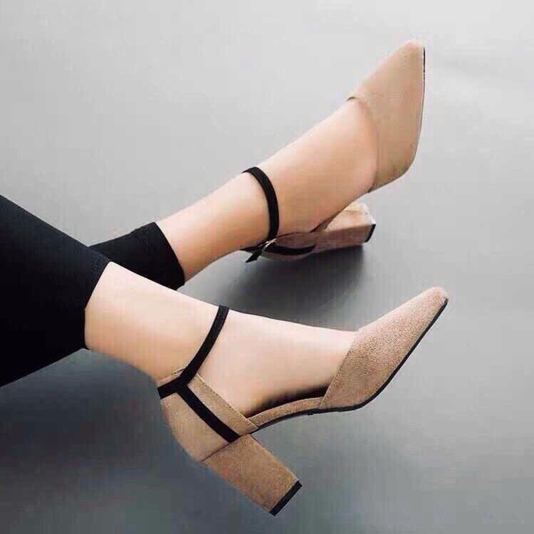 Giày Sandal Cao Gót Nữ Da Nỉ Cao Cấp Cài Quai Viền Đen Đế Vuông Cao 7p- CTG8504 4