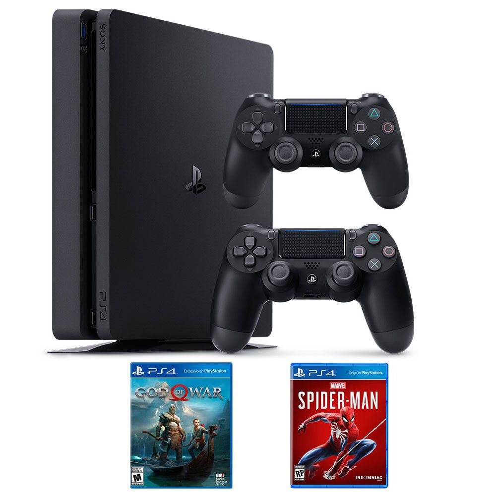 Bộ máy PS4 Slim 1TB kèm 2 tay bấm + 2 đĩa game God Of War, Spider Man - Playstation chính hãng