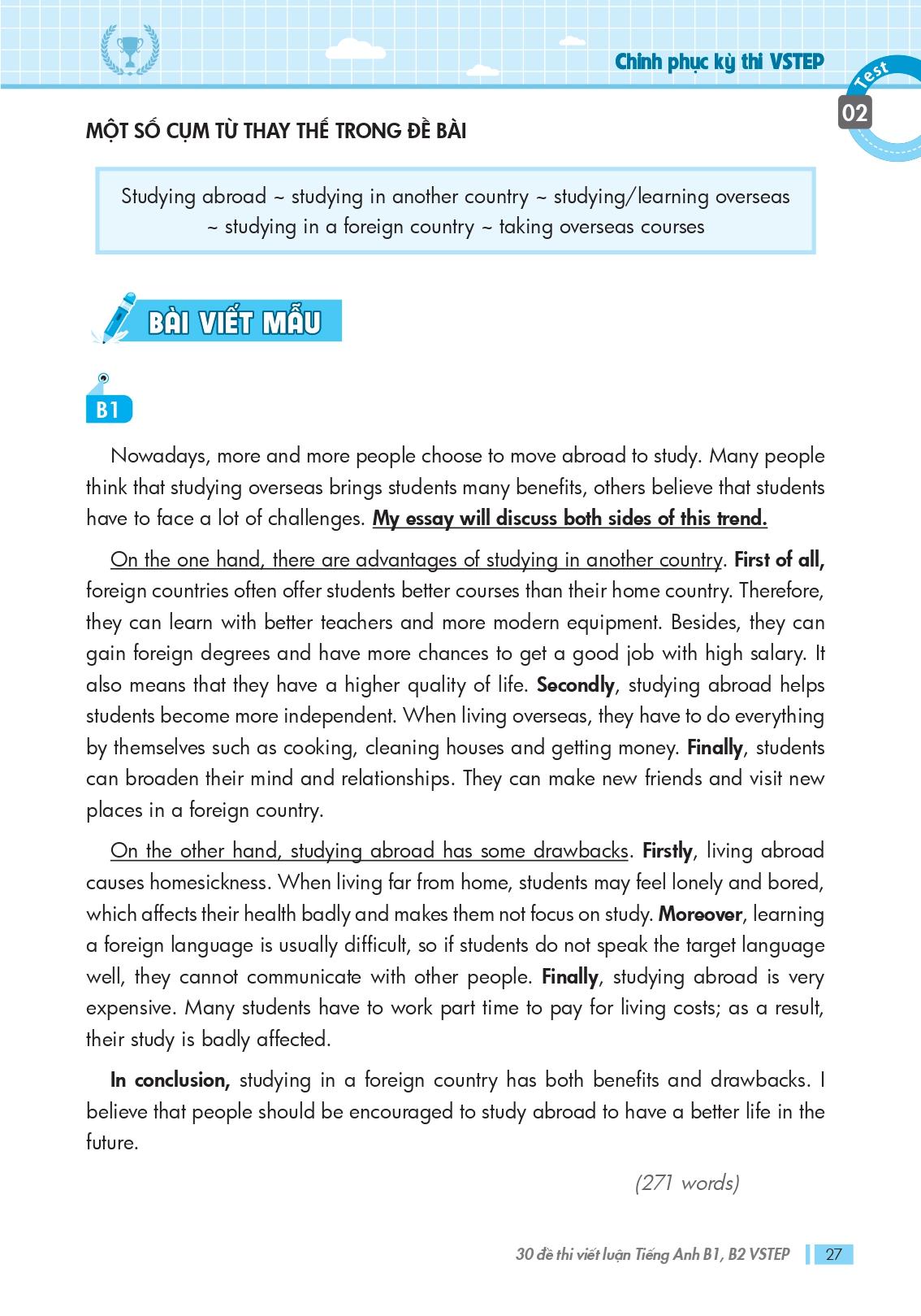 Sách Vstep Writing Essays _Bài viết mẫu