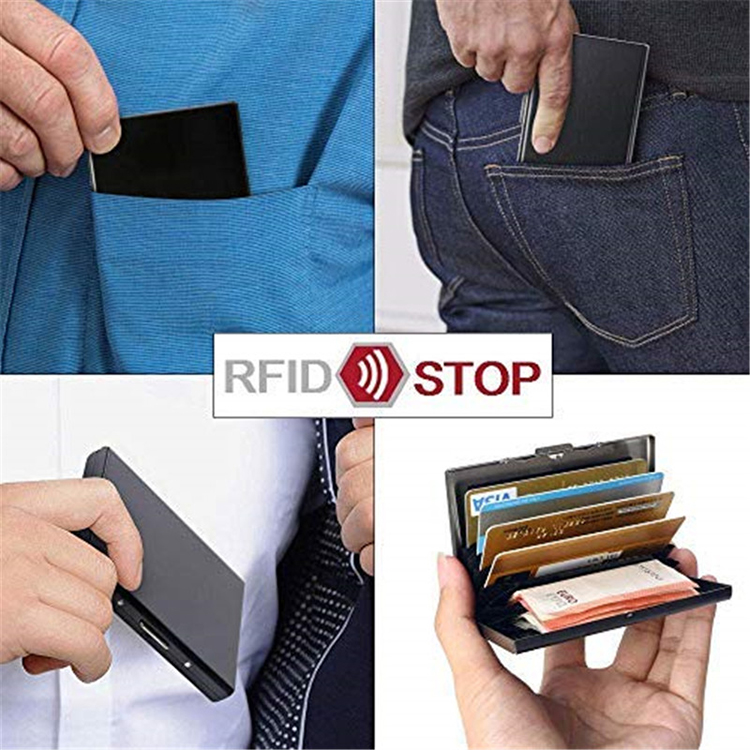 Ultra Thin Metal Card Holder RFID Blocking Credit Card Case Wallet with 6 Slot