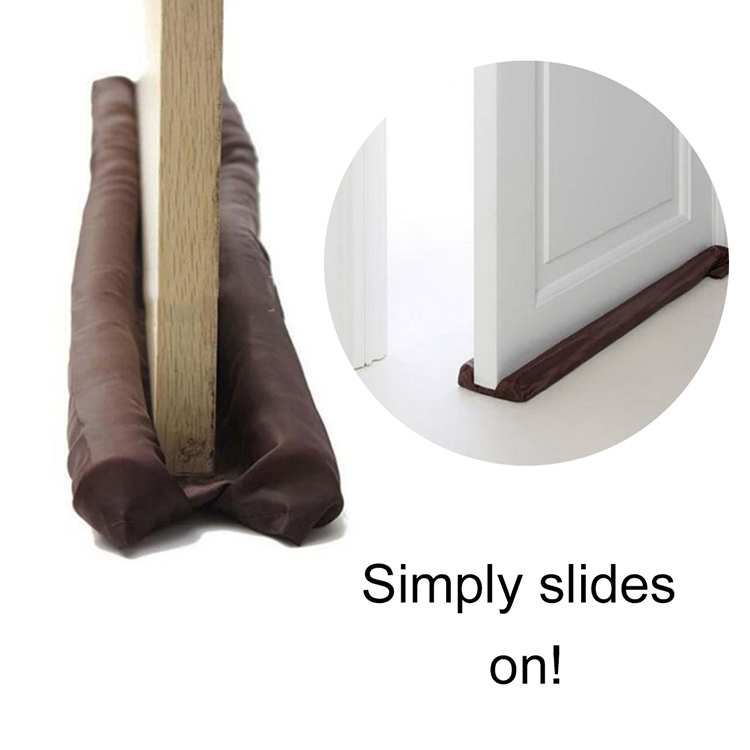 Practical Door Twin Draft Guard Wind Air Dust Insulator Door Stopper Energy Saving Protector Doorstop Brown