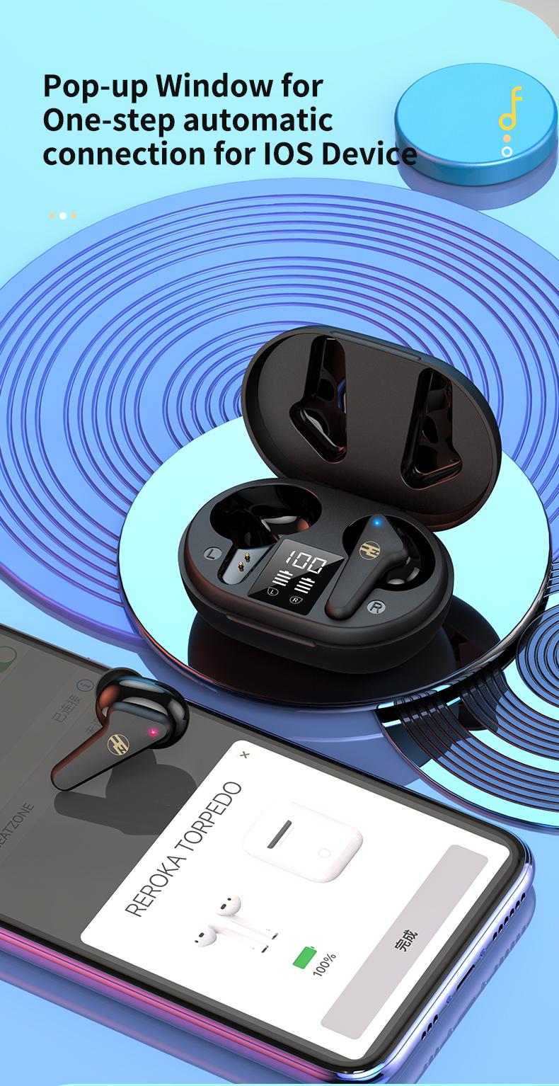 Tai Nghe Bluetooth V5.0 True Wireless Không Dây Reroka Torpedo 2021 Cảm Ứng Vân Tay Âm Thanh Hi-Fi  Bass Căng Trầm Pin Trâu Hiển Thị Mức Pin Đèn Led Chống Ồn Chống Nước Đổi Tên Thiết Bị Kiểu Giáng Thể Thao Đeo Chắc Tai 3 Màu Trắng Hồng Đen- Hàng Chính Hãng 6