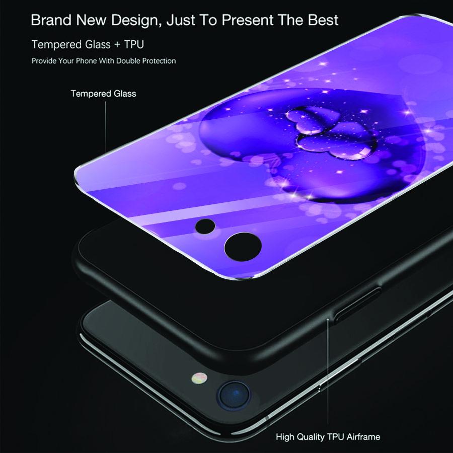 Ốp điện thoại kính cường lực cho máy iPhone 5/5s/se - trái tim tình yêu MS LOVE049