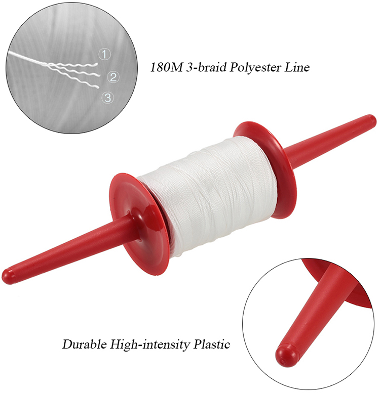 Fast Winding Plastic Hoop Spool with 180m Braided Polyester Line Kite String
