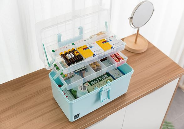 Youku large multi-function storage box 34*19*23cm portable medicine box household medicine oversized storage box toolbox household multi-layer storage box moisture-proof seal