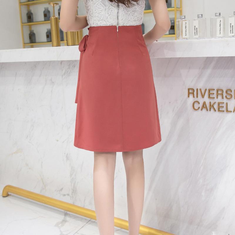 Chân váy công sở đẹp Louro L702, dáng thiên chữ A, mẫu chân váy cách điệu xếp ly buộc nơ eo, cạp cao tôn dáng che bụng hiệu quả 4