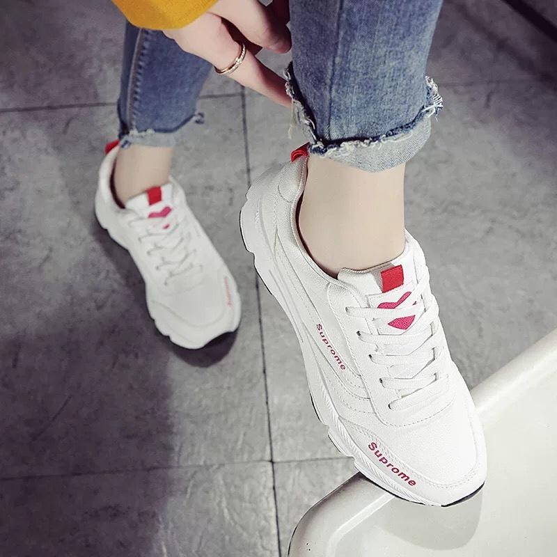 Giày Sneaker Nữ Đế Cao Chống Trơn, Trái Tim Ở Mũi Hapu