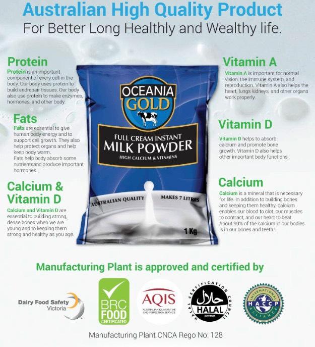 Sữa Oceania Gold Nhiều Canxi và Khoáng Chất