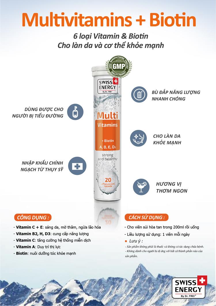 Hộp Thực Phẩm Bảo Vệ Sức Khoẻ Viên sủi Swiss Energy Multivitamins + Biotin (12 Tuýt/ Hộp)