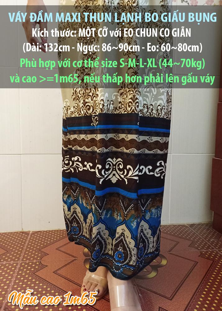 Váy đầm maxi thun lạnh co giãn giấu bụng dạo chơi, đi biển - Maxi 65 6