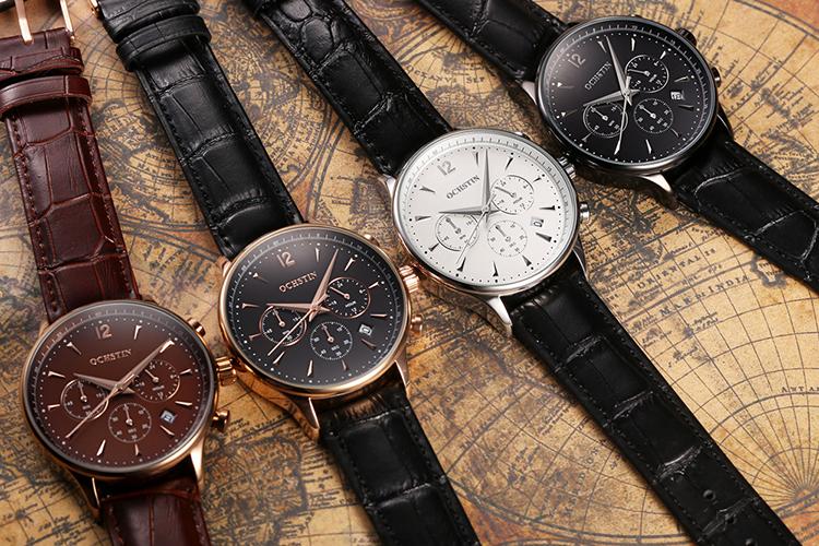 OCHSTIN New Luxury Brand Genuine Leather Men Business Watch Quartz Analog Water-Proof Mans Wristwatch Chronograph - Cool white