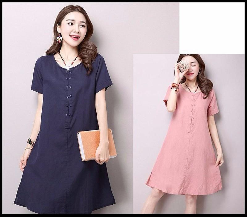 Đầm suông form rộng chữ A xẻ tà gấu LAHstore, thời trang phong cách Hàn Quốc 3