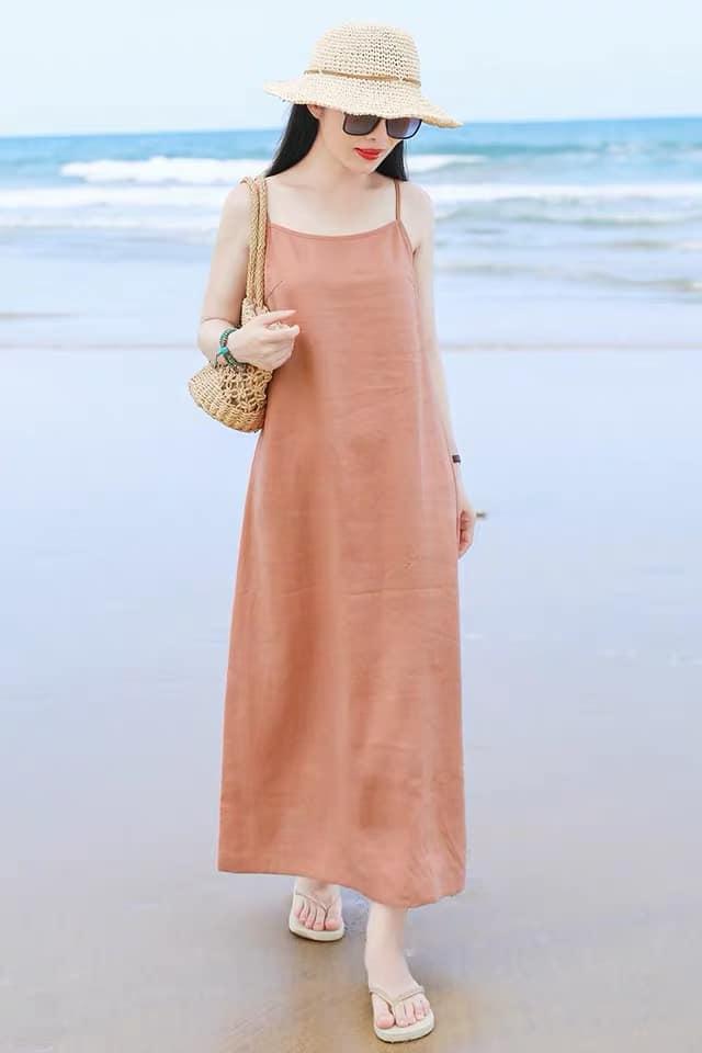 Đầm suông 2 dây đi biển LAHstore, chất thô mềm mát, thời trang phong cách Hàn Quốc 4