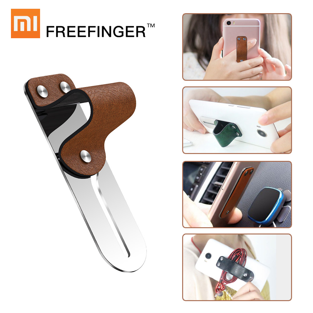 Xiaomi Freefinger Finger Ring Holder Leather Stainless Steel Mobile Phone Grip Car Phone Mount Stand For iPhone XS Max X