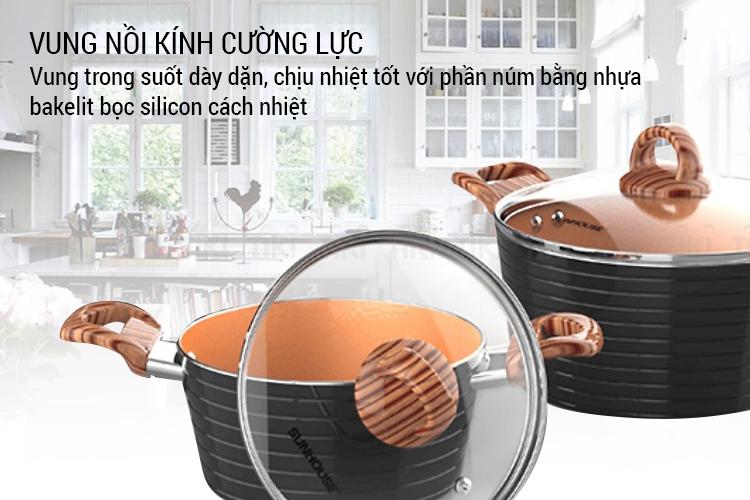 Bộ Nồi Ceramic Đáy Từ Sunhouse SHG2003MCA - Đồng