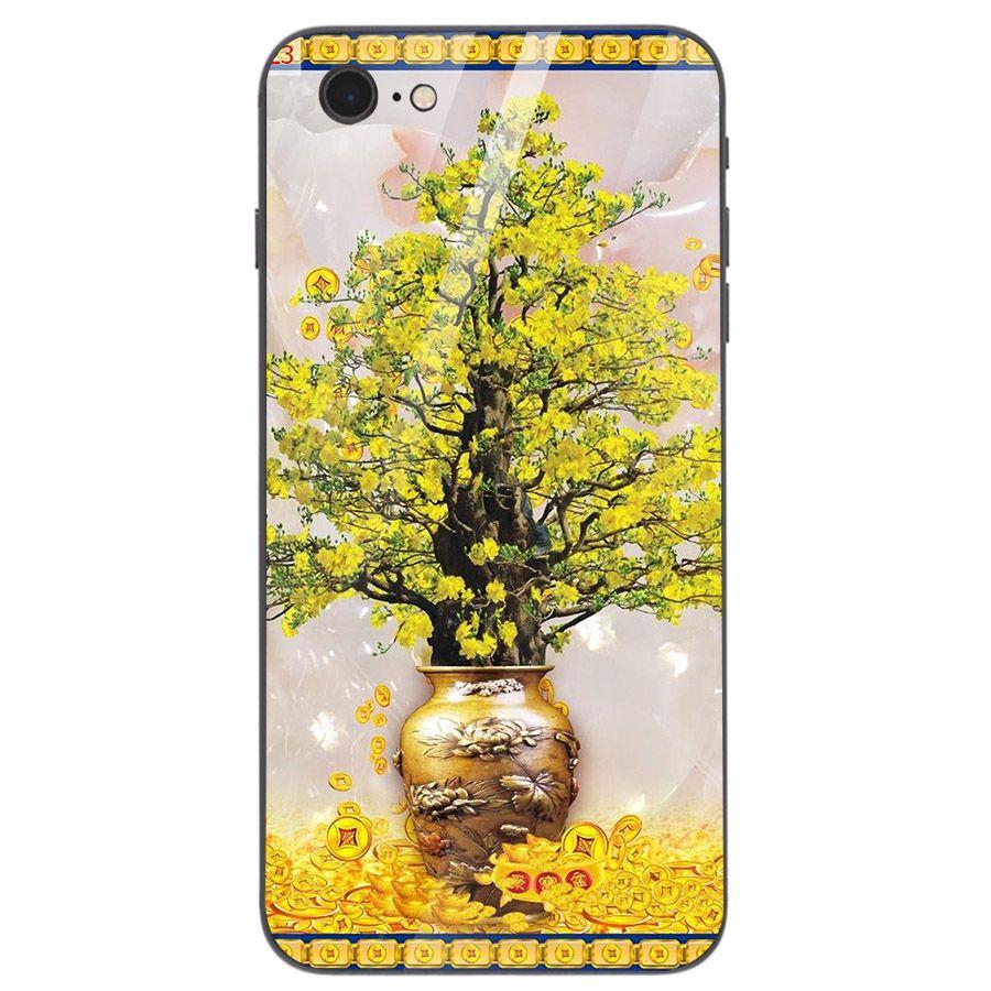 Ốp điện thoại kính cường lực cho máy iPhone 5/5s/se - Tranh Mai Đào MS MDAO049