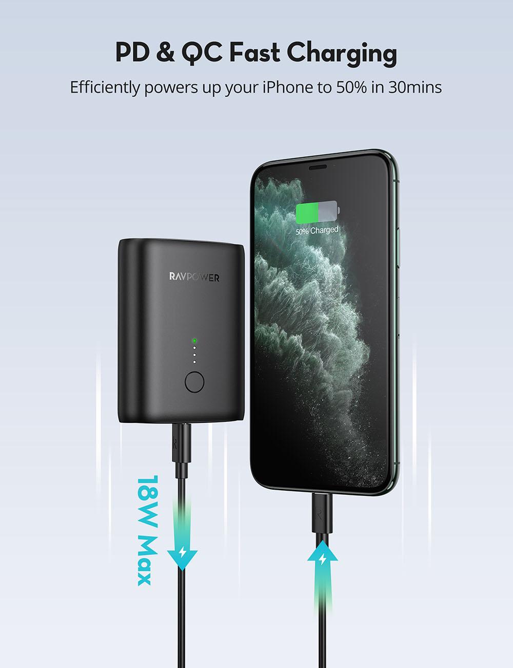 Pin Sạc Dự Phòng RAVPower 10000mAh Tích Hợp USB Type-C In/Out Hỗ Trợ Sạc Nhanh PD Power Delivery 18W và Quick Charge QC 3.0 RP-PB194 - Hàng Chính Hãng