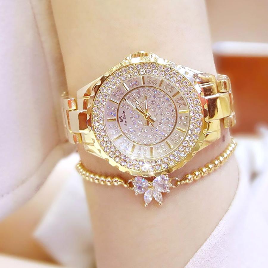 Đồng hồ nữ đính đá pha lê cao cấp (Vàng) 5