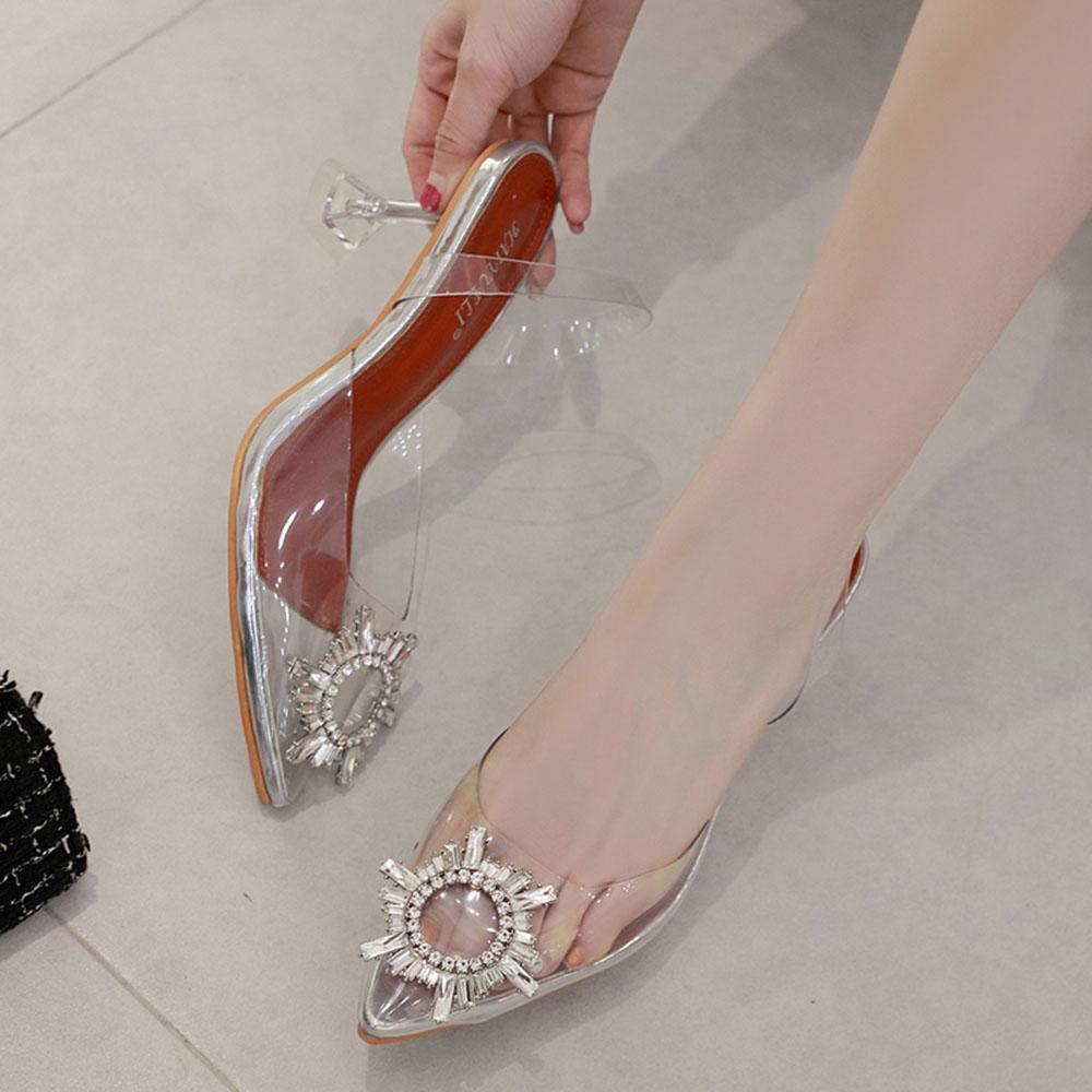 Giày Sandal Nữ Cao Gót Hoa Mặt Trời Trong Suốt Gót 5p Êm Chân kèm Tất Vớ Da Chân - Giày cao gót nữ quai trong hoa đá- mũi nhọn sang chảnh 4