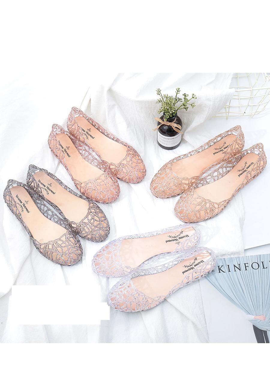 Giày búp bê nữ đế bằng nhựa đi mưa siêu bền đi thoáng và êm chân full size nhiều màu V217 8