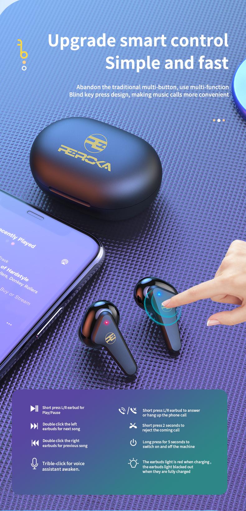 Tai Nghe Bluetooth V5.0 True Wireless Không Dây Reroka Torpedo 2021 Cảm Ứng Vân Tay Âm Thanh Hi-Fi  Bass Căng Trầm Pin Trâu Hiển Thị Mức Pin Đèn Led Chống Ồn Chống Nước Đổi Tên Thiết Bị Kiểu Giáng Thể Thao Đeo Chắc Tai 3 Màu Trắng Hồng Đen- Hàng Chính Hãng11