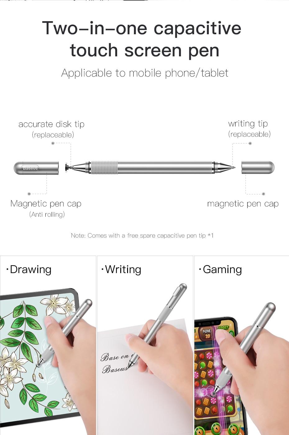 Bút Cảm Ứng Điện Dung 2 Trong 1 Baseus Smartphone Tablet IPad