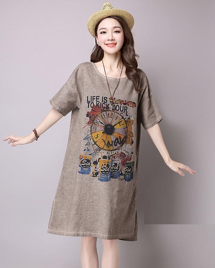 Đầm suông dạo phố chất thô họa tiết LAHstore, chất liệu vải bông mềm họa tiết độc dạo, thời trang Hàn Quốc - Xanh xám - XXL 4