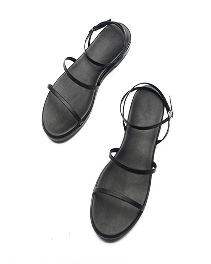 Sandal Nữ Quai Mảnh Đế Bệt Black Basic 5