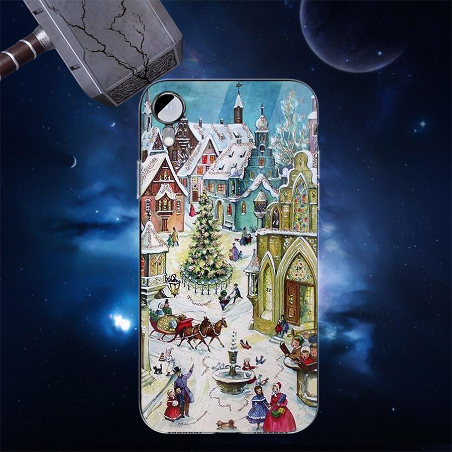 Ốp điện thoại kính cường lực cho máy iPhone XS MAX - giáng sinh đầm ấm MS GSDA002