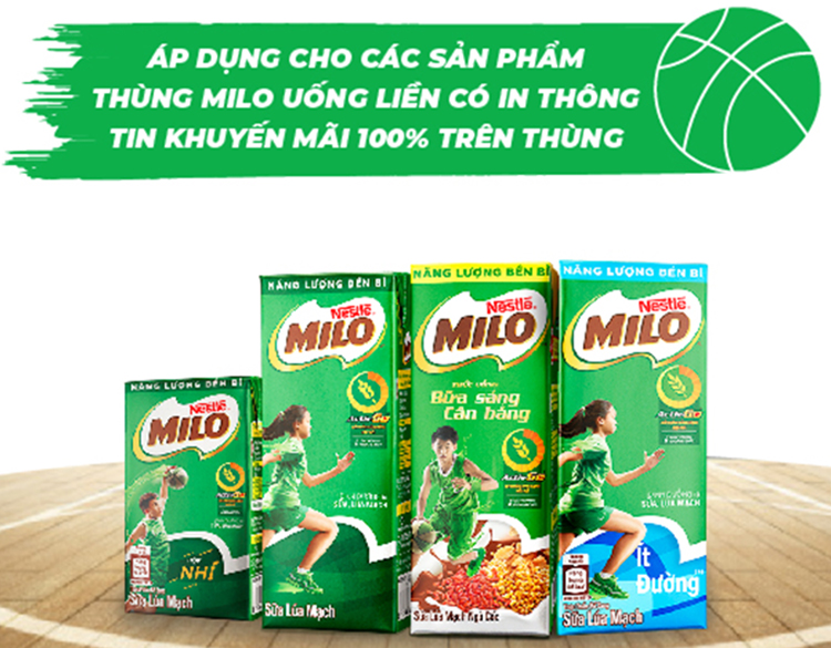 Sữa Lúa Mạch Nestlé MILO Thùng 48 Hộp x 180ml (12 x 4 x 180ml)