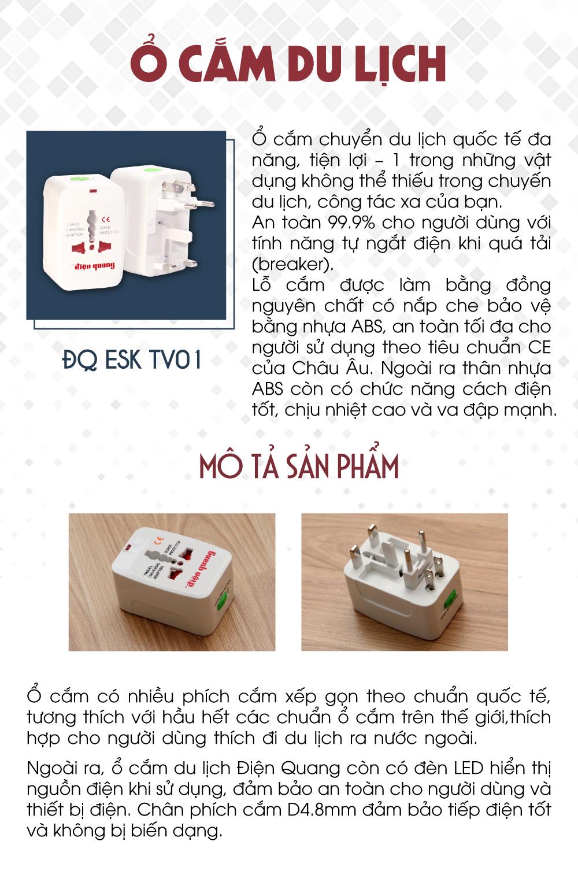 Ổ cắm du lịch Điện Quang ĐQ ESK TV01