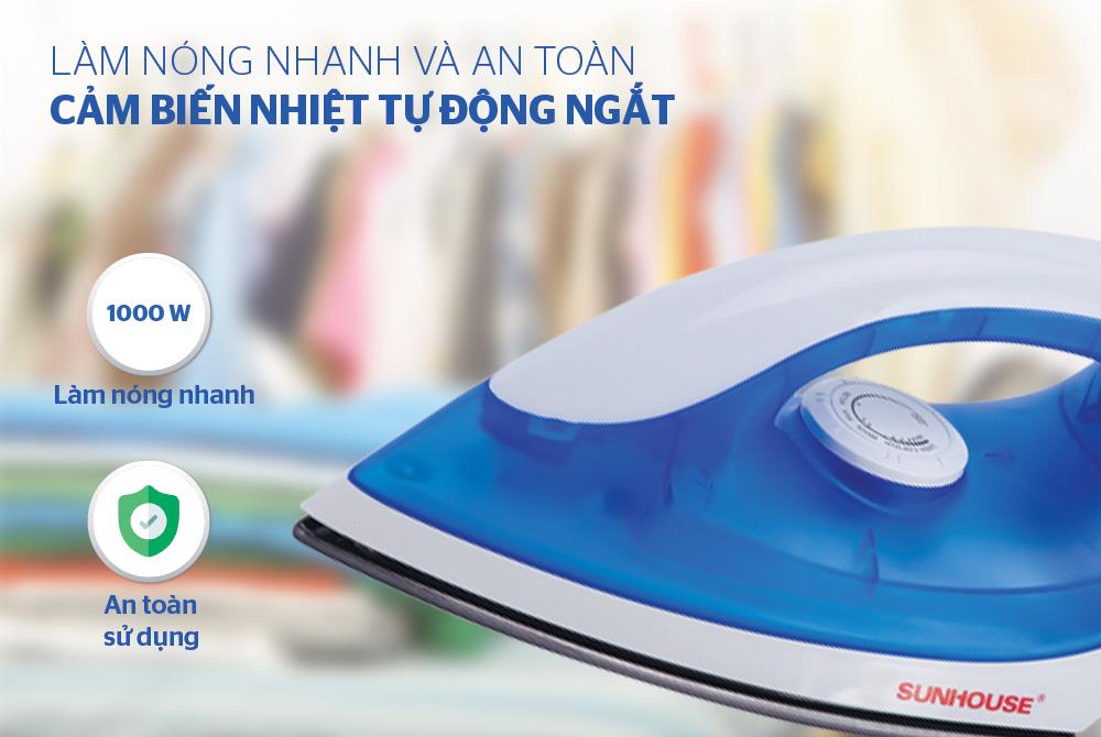 Bàn Ủi Khô Sunhouse SHD1072 - Xanh - Hàng chính hãng