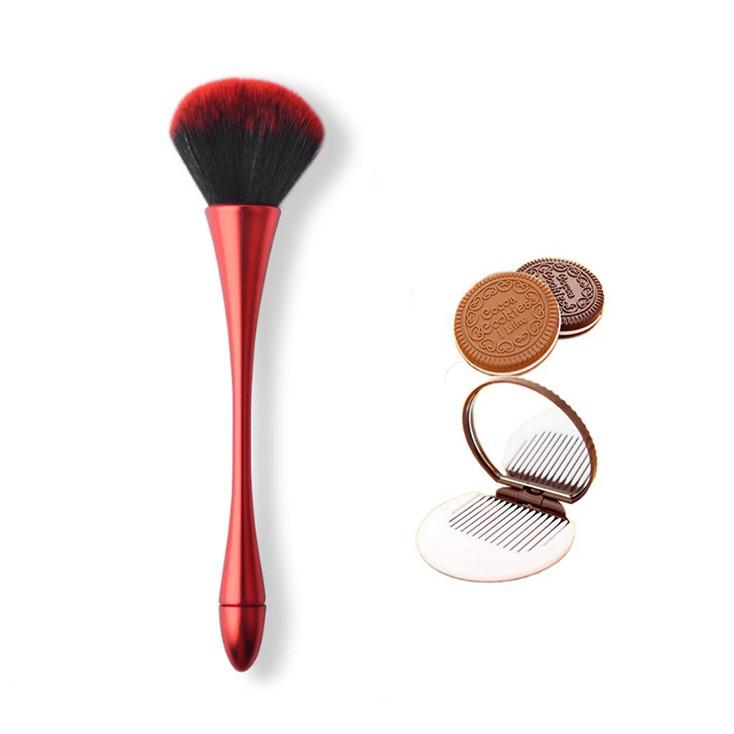 Combo 2_Gồm 1 Cọ Trang Điểm Nhiều Màu Lông Siêu Mềm và 1 Bộ Gương Lược Mini Hình Bánh Quy Chocolate Màu Ngẫu Nhiên 1