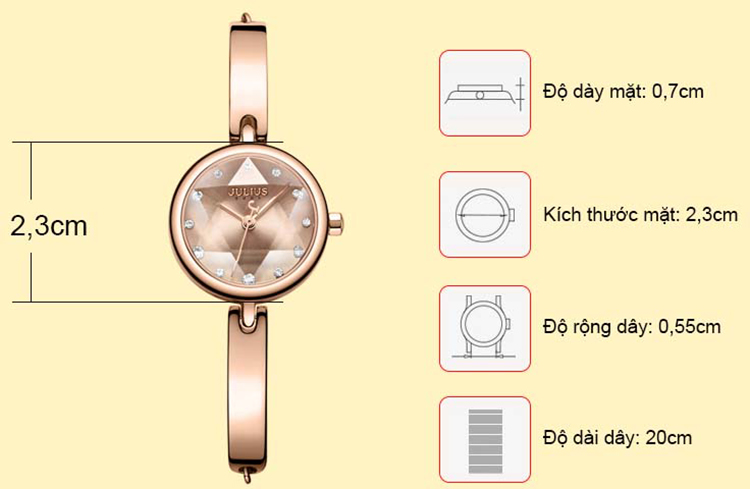 Đồng hồ nữ Julius JA-1126C (Đồng)