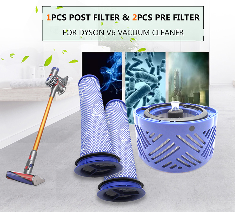 1pcs Post Filter & 2pcs Pre Filter HEPA Motor Filter Replacement for Dyson V6 Vacuum Cleaner Blue