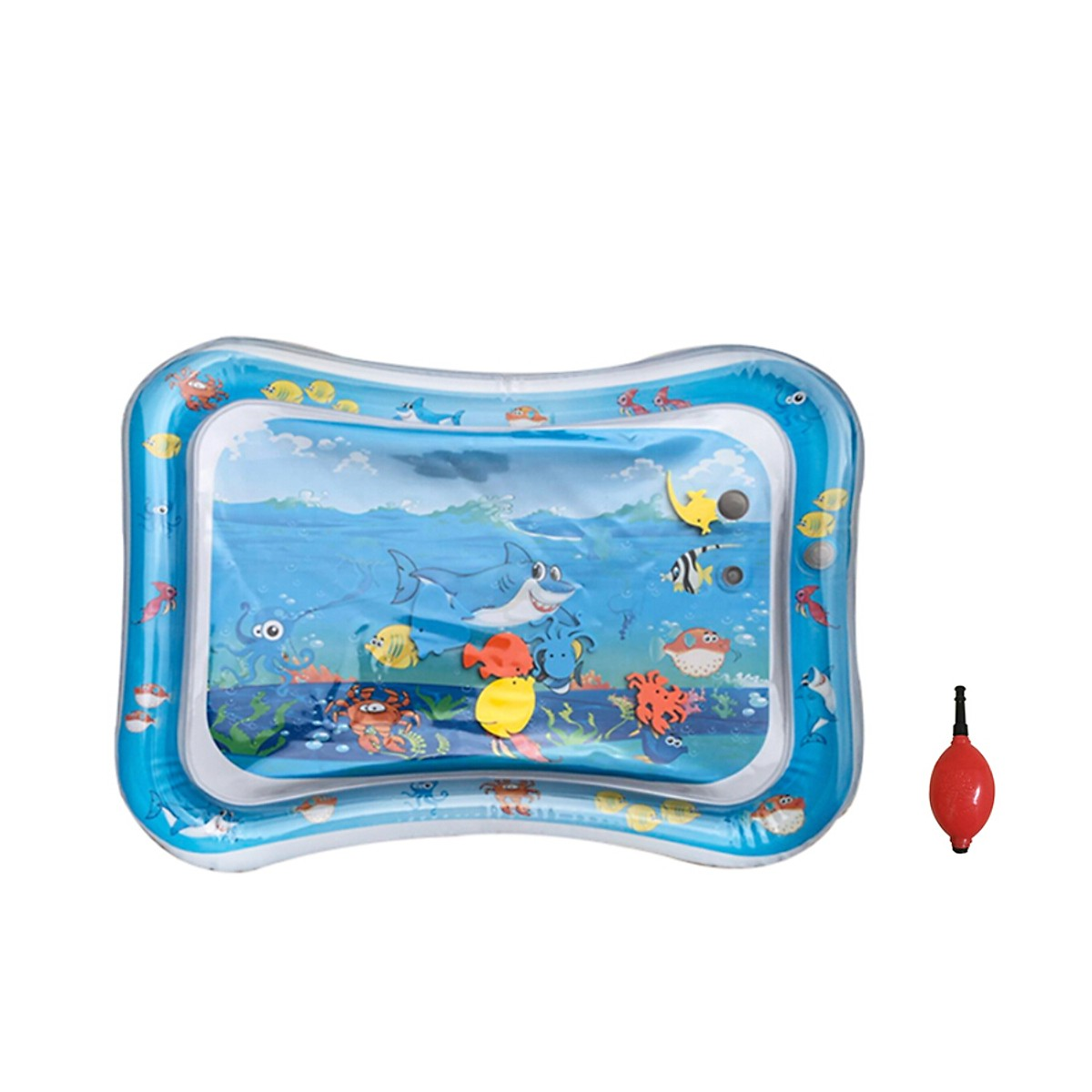 Baby Inflatable Water Play Mat Tummy Time Baby Fun Mat Child Development Play Center with Manual Inflator Pump for 0~3 Years Old I
