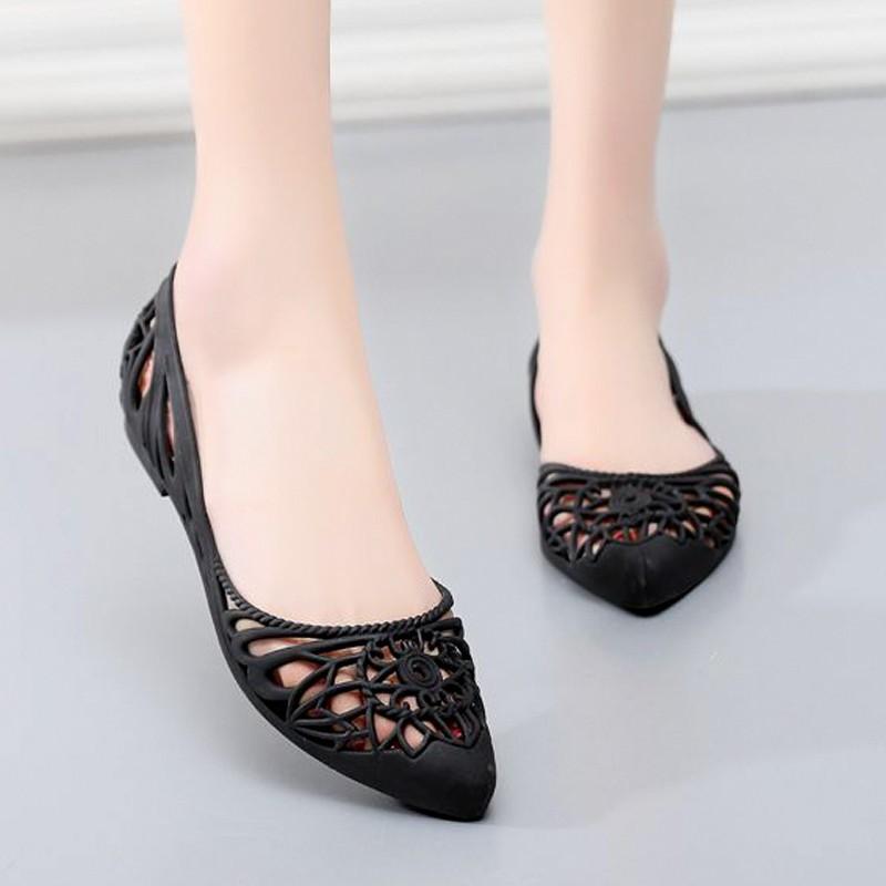 Giày búp bê đi mưa nữ hoa văn độc đáo , chất liệu nhựa cao cấp không trơn trợt 9600302 9