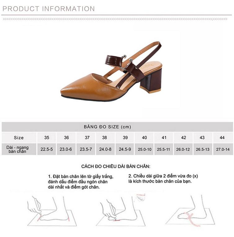 Giày Cao Gót 6CM Mũi Nhọn Gót Vuông Da Mềm Êm Chân 3Fashion - 3059 2