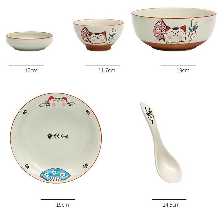 Bộ 15 Món Chén Dĩa Gốm Sứ Hình Mèo Hoạt Hình Yun Tang (4 Chén + 2 Dĩa Lớn + 1 Tô + 4 Dĩa Nhỏ + 4 Thìa Nhỏ)