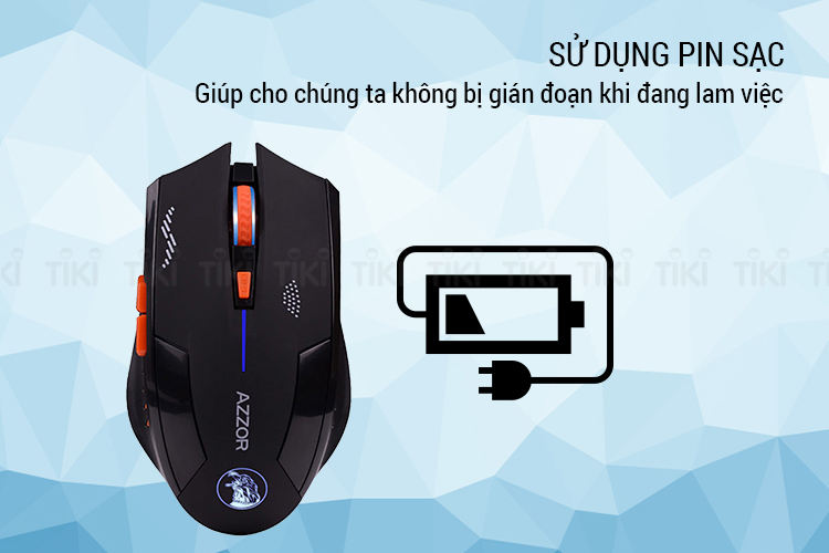 Chuột Chơi Game Không Dây Azzor Eagle 2400DPI 6 Phím - Hàng Nhập Khẩu