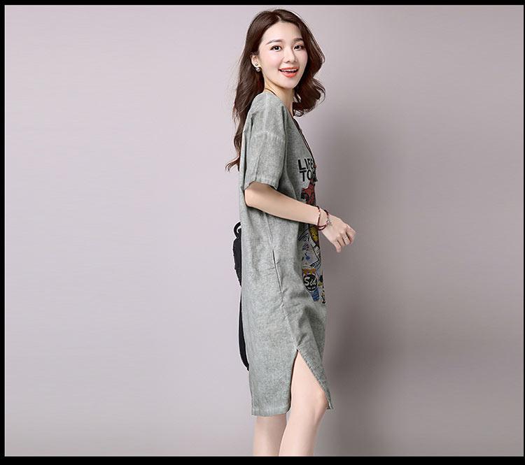 Đầm suông dạo phố chất thô họa tiết LAHstore, chất liệu vải bông mềm họa tiết độc dạo, thời trang Hàn Quốc - Xanh xám - XXL 10