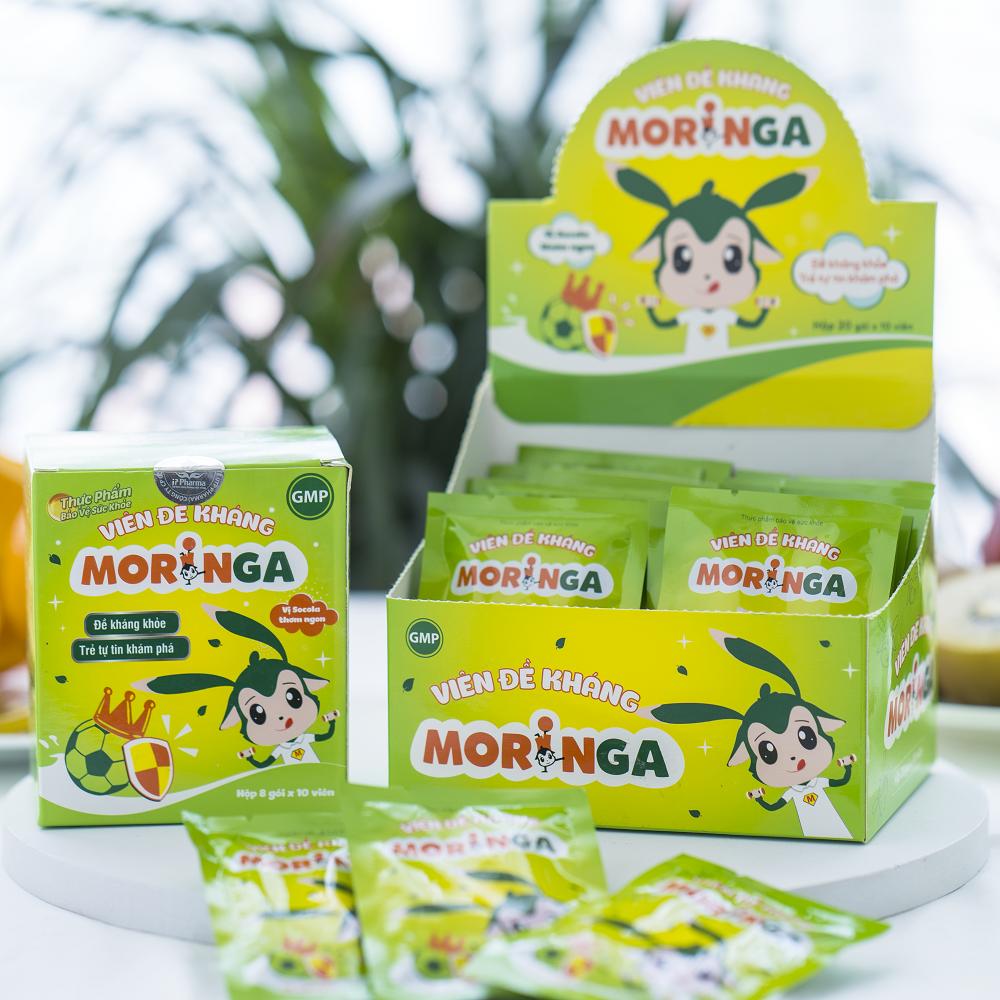 COMBO 2 Hộp Viên đề kháng Moringa - Giúp tăng sức đề kháng, phòng tránh các bệnh thường gặp ở trẻ em - Hộp 8 gói 3