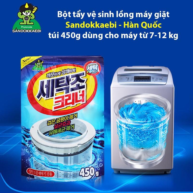 Combo áo trùm máy giặt (giao màu ngẫu nhiên) + bột tẩy vệ sinh lồng máy giặt nhập khẩu Hàn Quốc (450gr)