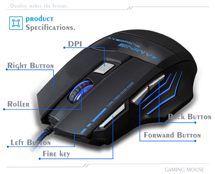 Gaming  Mouse Optical Mouse Streamline Design 7 Buttons 2400DPI Gaming Control for Computer Laptop
