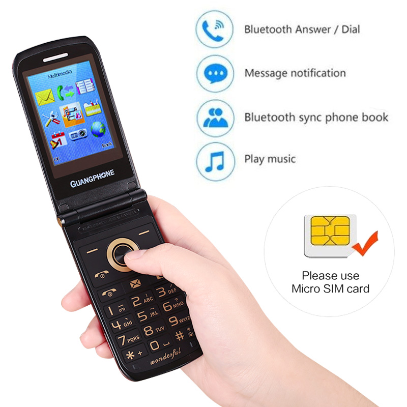Clamshell Mobile Phone Flip Phone Easy Double Screen Bluetooth Touch FM