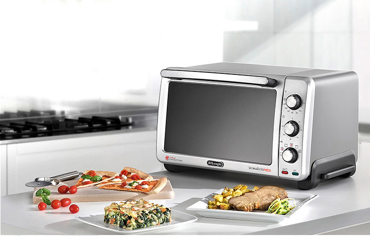 Delonghi electric oven home multi-function oven (24L) double-glazed door enamel silver stone liner heating up and down EO24752.S