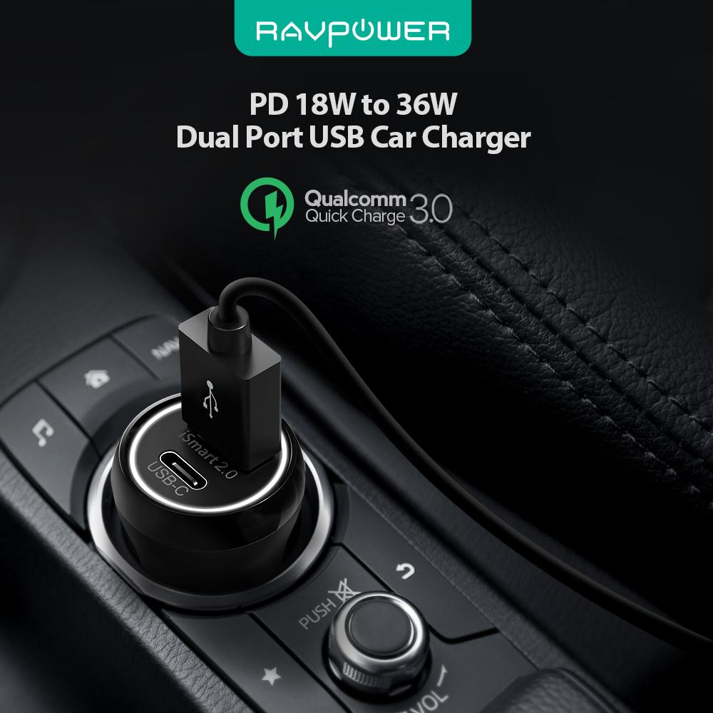 Sạc Xe Hơi 1 USB + 1 USB Type C RAVPower 18W 36W RP-PC091 - Hàng Chính Hãng