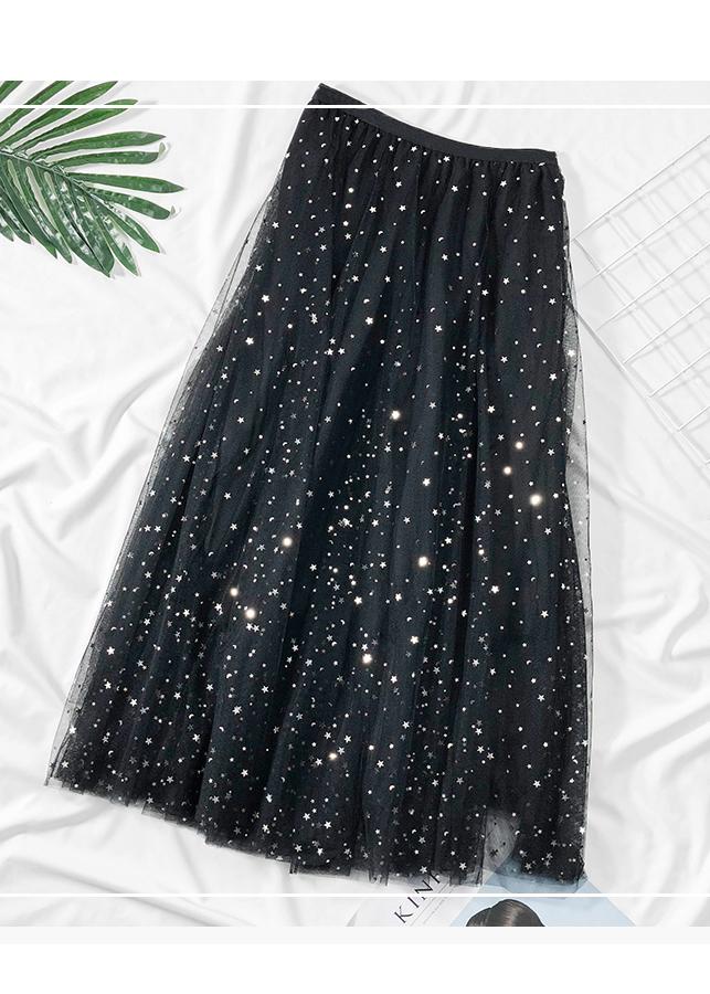 Chân váy ren Tulle - Tutu xòe tròn đính trăng sao lấp lánh giá siêu tốt VAY21 Free size 4