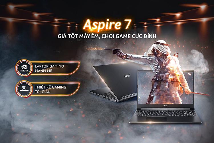 Laptop Acer Aspire 7 A715-41G-R150 NH.Q8SSV.004 (AMD Ryzen 7 3750H/ 8GB DDR4 2400MHz/ 512GB PCIe NVMe/ GTX 1650Ti 4GB GDDR6/ Win10) - Hàng Chính Hãng