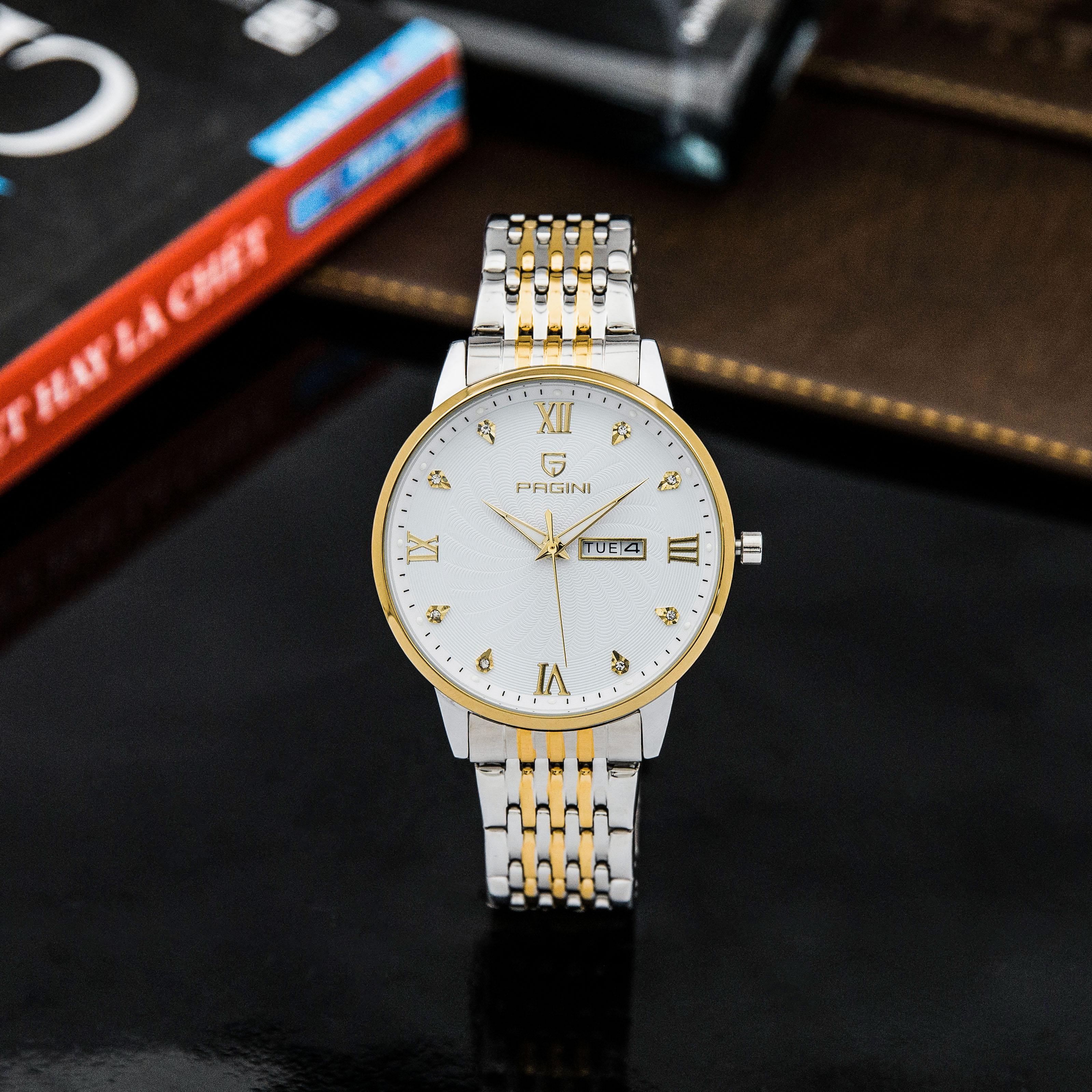 Đồng hồ nam PAGINI PA5588 dây thép kim dạ quang cao cấp chống nước 3ATM 2